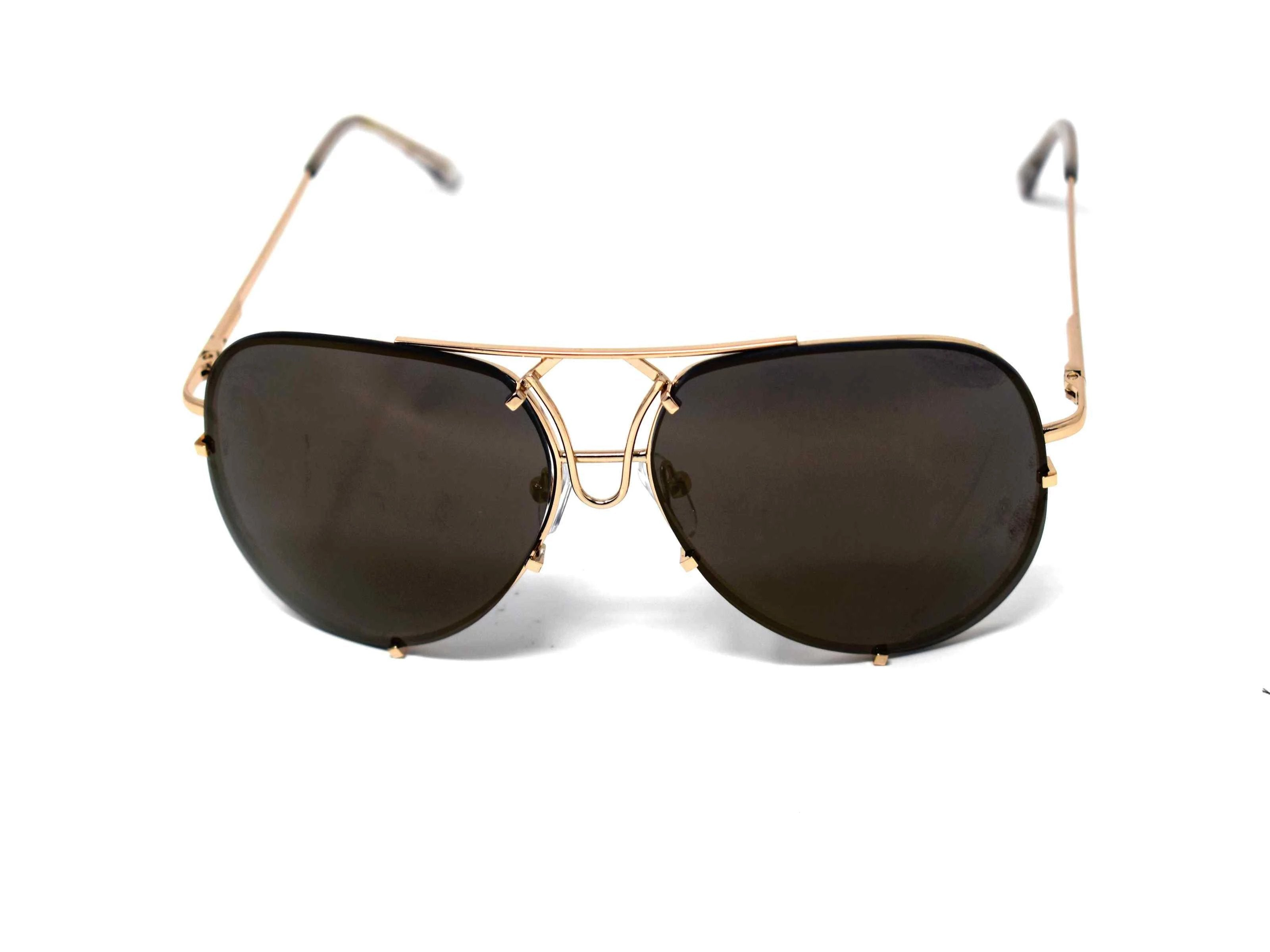 Don't get caught without these yarrow gold frame dark green mirrored lens aviator sunglasses.