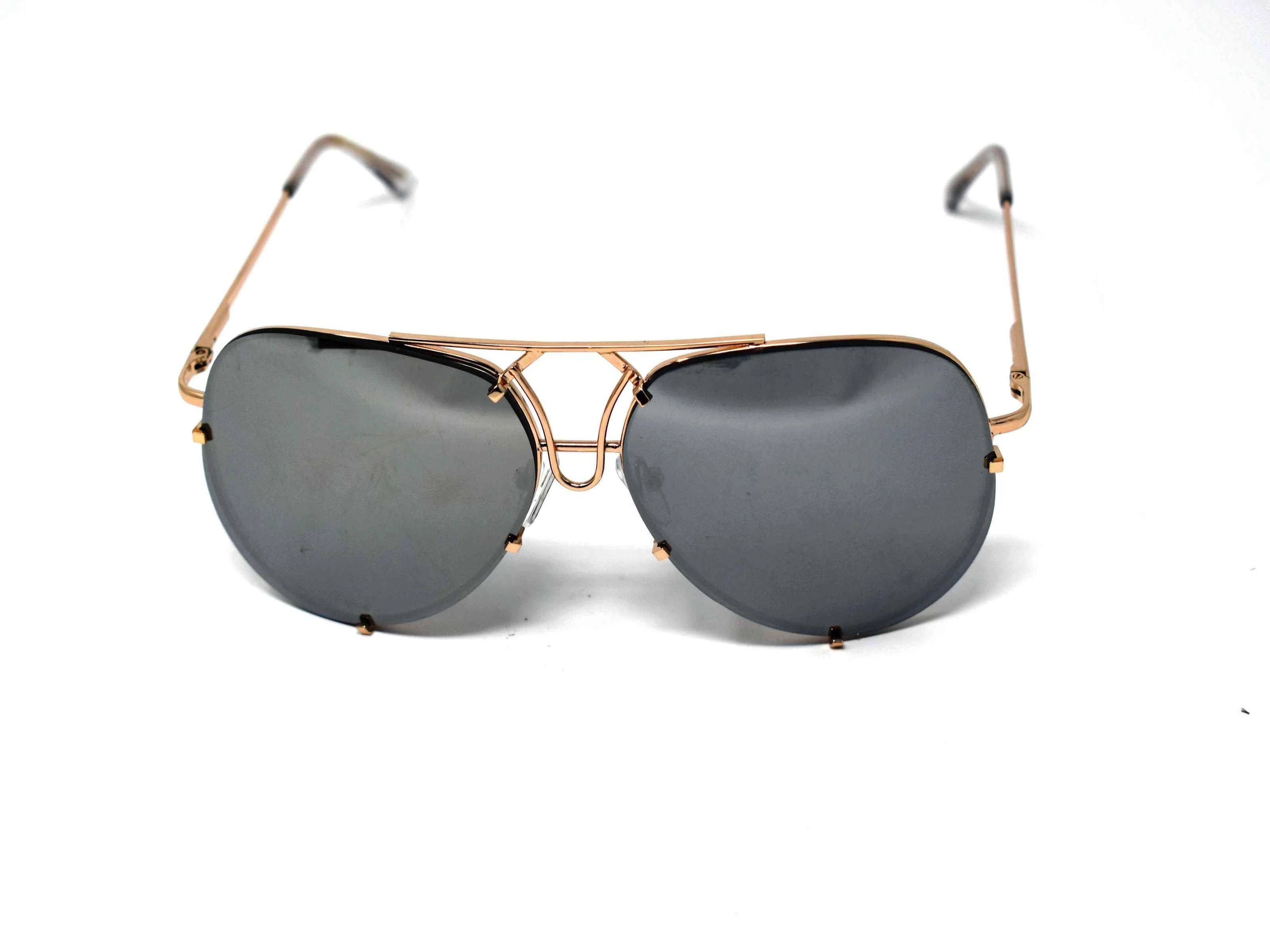 Yarrow Silver Mirrored Lens Sunglasses Gold