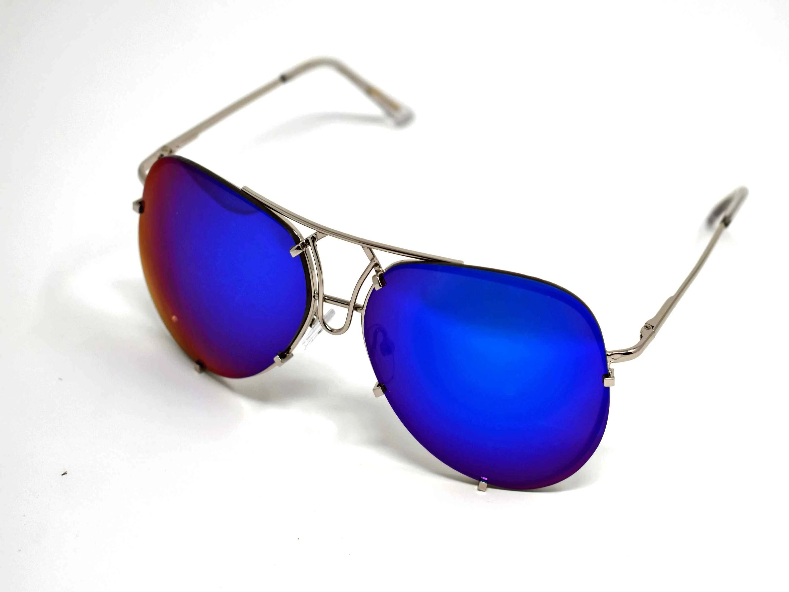 Yarrow Royal Blue Mirrored Lens Sunglasses Silver