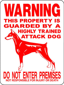 DOBERMAN PINSCHER ALUMINUM DOG SIGNS 2276DPR