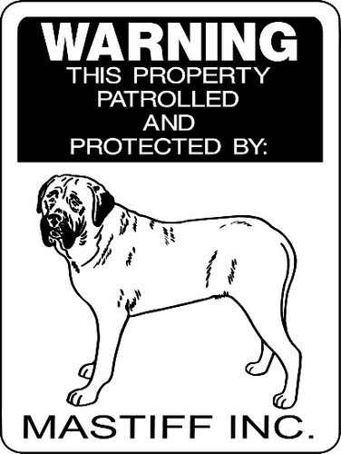 MASTIFF, BULL MASTIFF, ENGLISH MASTIFF, ALUMINUM DOG SIGN 3008