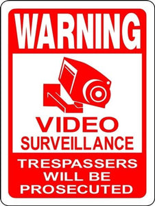VIDEO SURVEILLANCE 24 HOUR ALUMINUM  SIGN C101C