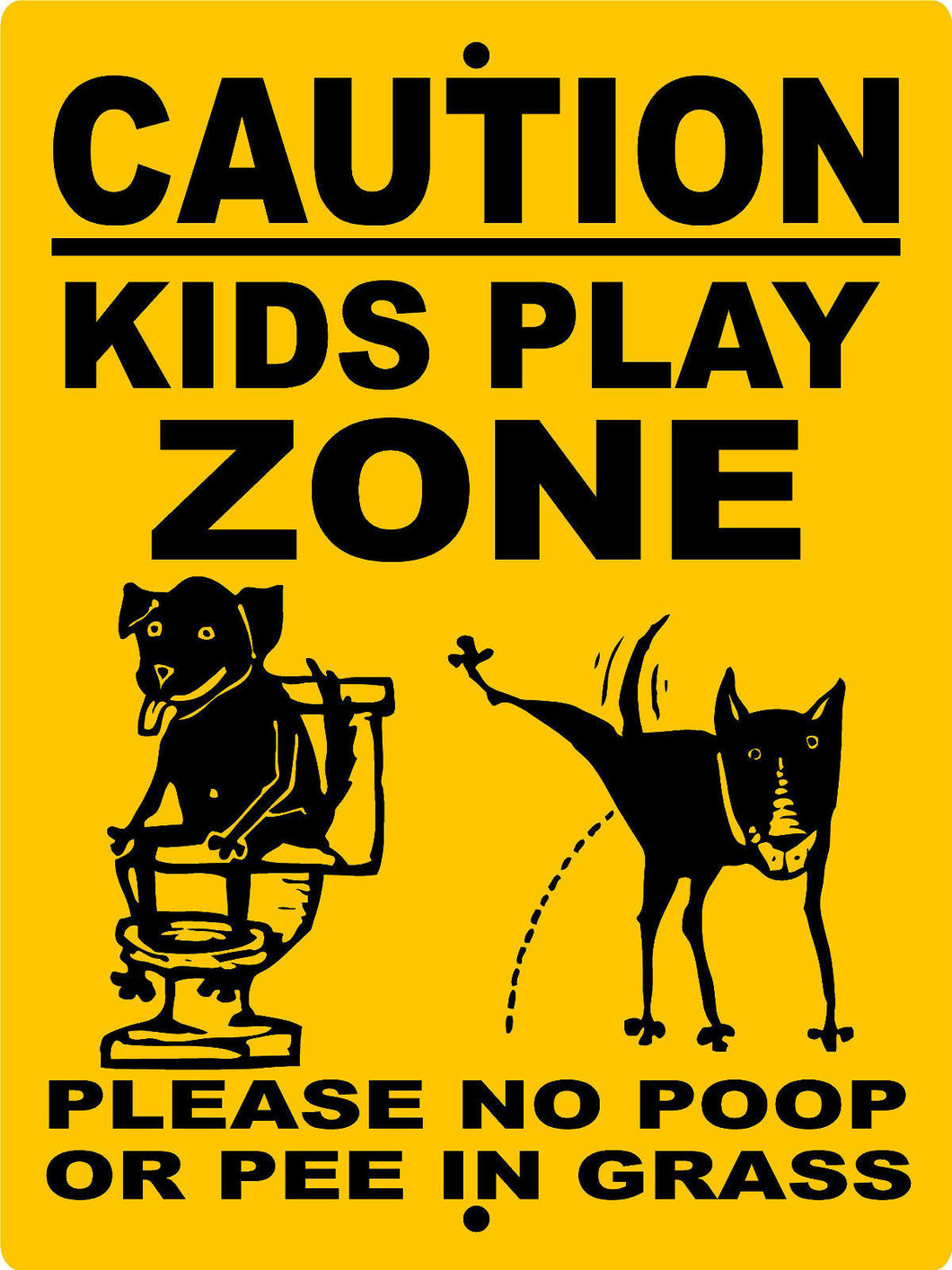 KIDS PLAY ZONE  ALUMINUM DOG SIGNS CKPZ1