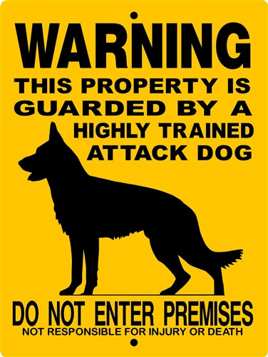 GERMAN SHEPHERD ALUMINUM SIGN H2276SIL3