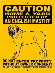 MASTIFF, BULL MASTIFF, ENGLISH MASTIFF, ALUMINUM DOG SIGN H2496HYEM