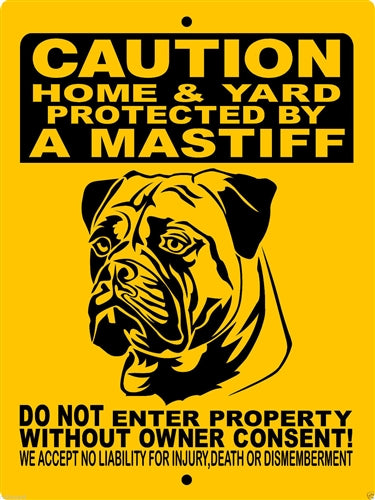 MASTIFF, BULL MASTIFF, ENGLISH MASTIFF, ALUMINUM DOG SIGN H2496MAST