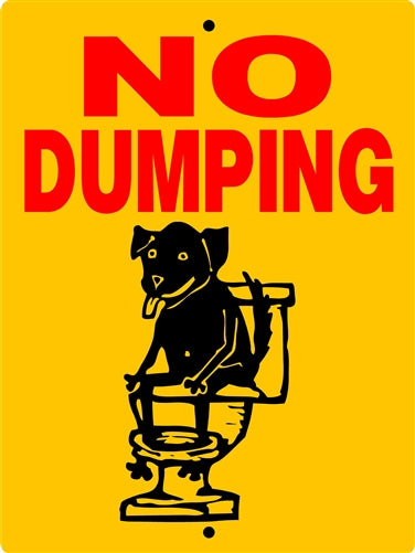 NO POOPING ALUMINUM DOG SIGNS HND5