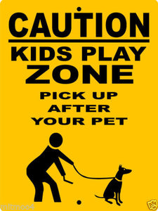 KIDS PLAY ZONE  ALUMINUM DOG SIGNS KPZ1