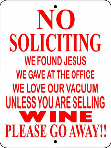NO SOLICITING ALUMINUM  SIGN NSWINE