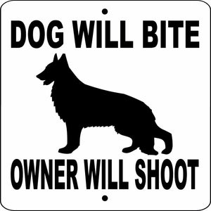 "GERMAN SHEPHERD 9"" X 9"" ALUMINUM SIGN DWBOWS9X9"