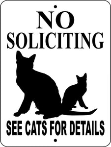 NO SOLICITING CAT ALUMINUM SIGN NSCATS