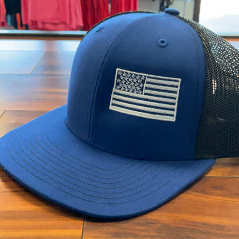 American Flag Blue Embroidered Hat