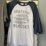 Grateful Thankful Blessed Baseball Style Graphic Tee