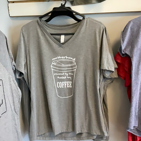 Motherhood Powered By Love Fueled By Coffee - Light Grey