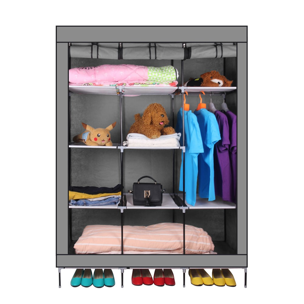 69 Inch Portable Closet Organizer Large Space Clothes Wardrobe Steel Dress Room Tube Rack With Shelves Clothing Storage
