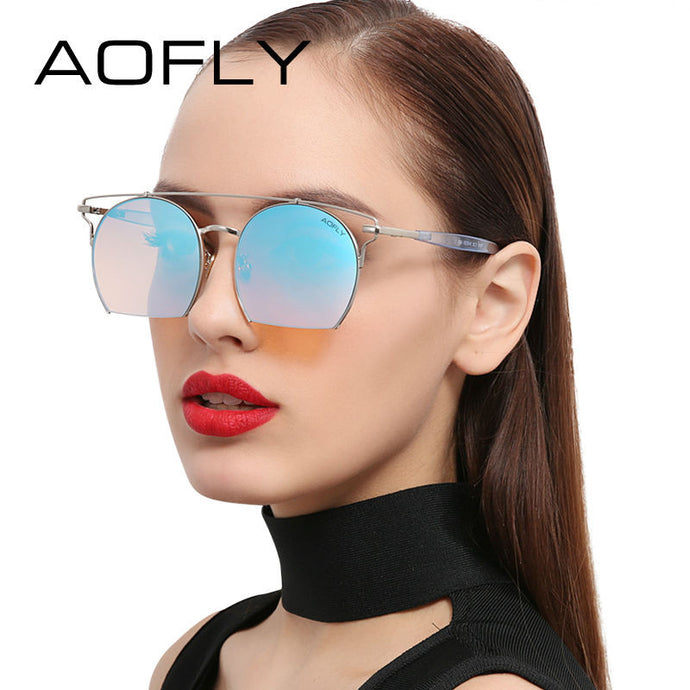 AOFLY Double-Bridge Vintage Cut Sunglasses