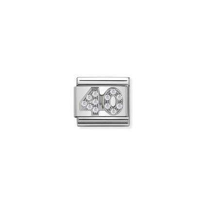 Silver & Cubic Zirconia - Age 40 charm By Nomination Italy from Nomination only 27.00 GBP