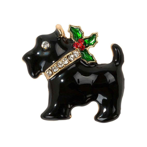 Christmas Enamel Scottie Dog Badge