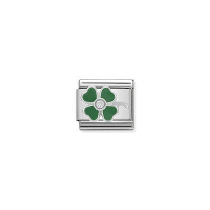 Enamel & Cubic Zirconia - Green Four Leaf Clover Charm By Nomination Italy from Nomination only 18.00 GBP