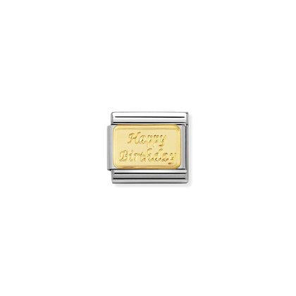 Gold Engraved Happy Birthday charm By Nomination Italy from Nomination only 22.00 GBP