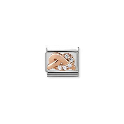Rose Gold - White CZ knot Charm By Nomination Italy from Nomination only 45.00 GBP
