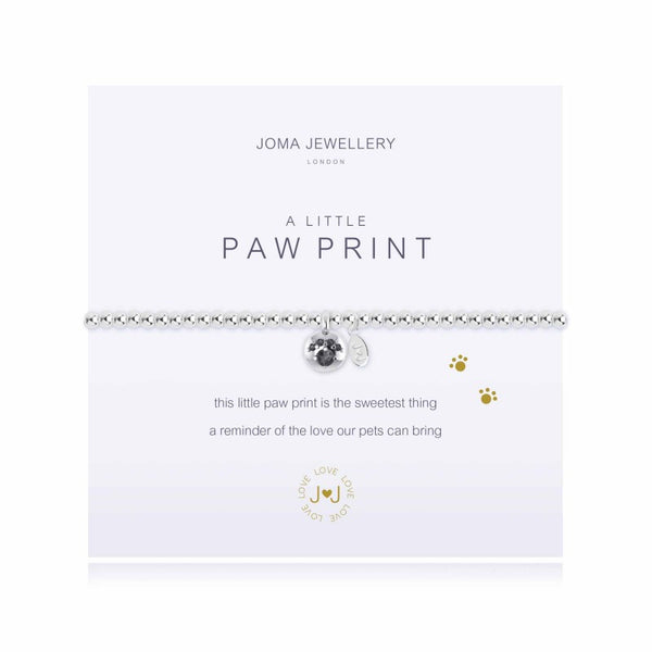 a little PAW PRINT SILVER PLATED BRACELET By Joma Jewellery London - Official Stockists from Joma Jewellery only 16.50 GBP