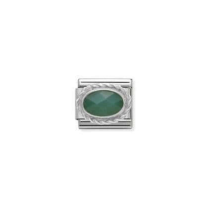 Silver Stones - Faceted Green Agath Charm By Nomination Italy from Nomination only 20.00 GBP