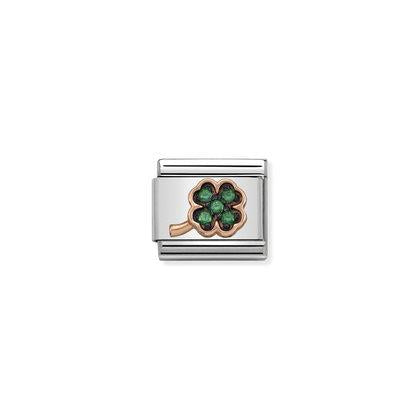Rose Gold - Green CZ Clover charm By Nomination Italy from Nomination only 54.00 GBP