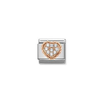 Rose Gold - White Cubic Zirconia Heart charm By Nomination Italy from Nomination only 54.00 GBP