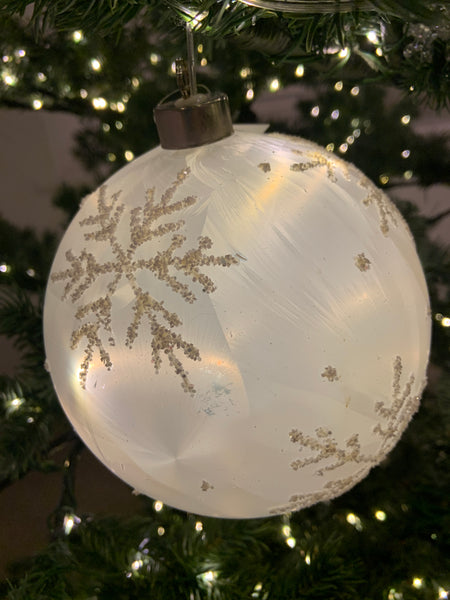 Large light up white bauble