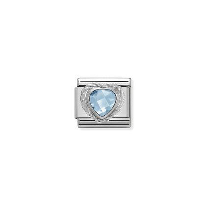Silver Stones - Light Blue Heart Charm By Nomination Italy from Nomination only 20.00 GBP
