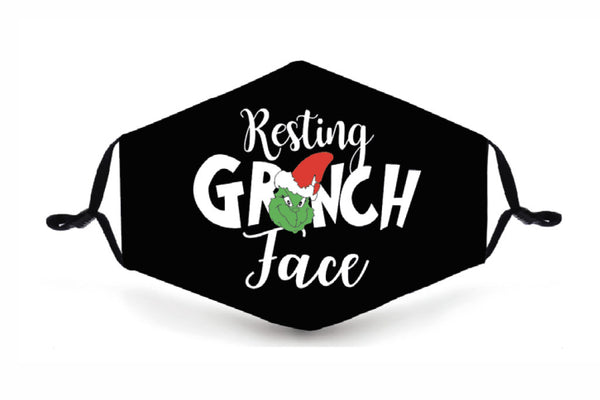 Festive Reusable Face Mask - Resting Grinch Face - Buy any 3 and get a 4th FREE