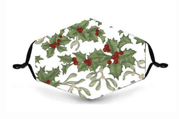 Festive Reusable Face Mask - Christmas Holly - Buy any 3 and get a 4th FREE