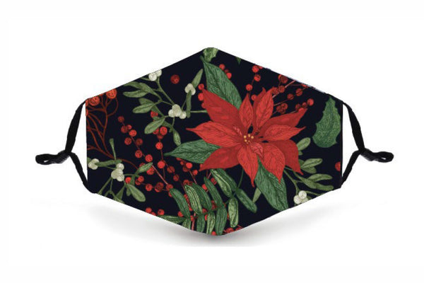 Festive Reusable Face Mask - Flower - Poinsettia - Buy any 3 and get a 4th FREE