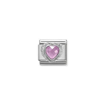 Silver Stones - Pink Heart Charm By Nomination Italy from Nomination only 20.00 GBP