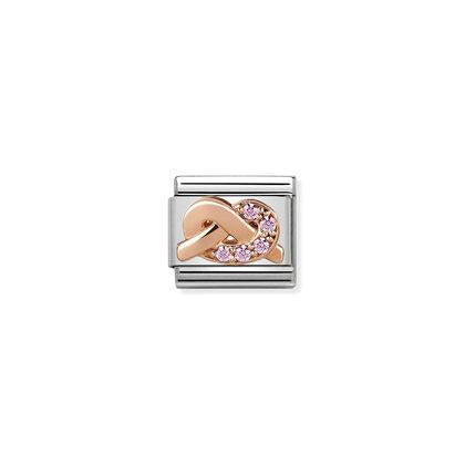 Rose Gold - Pink CZ knot charm By Nomination Italy from Nomination only 41.00 GBP