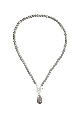 Hot Tomato - Pearl Necklace - Grey