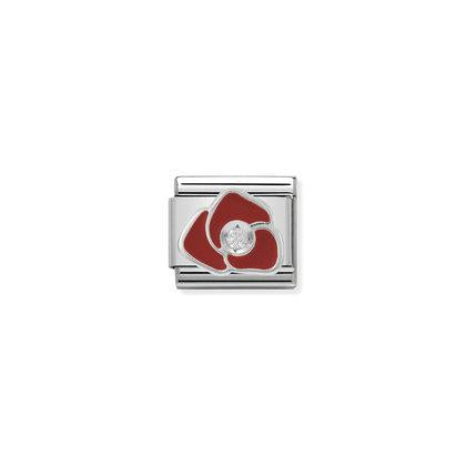 Enamel And Cubic Zirconia - Red Rose charm By Nomination Italy from Nomination only 18.00 GBP