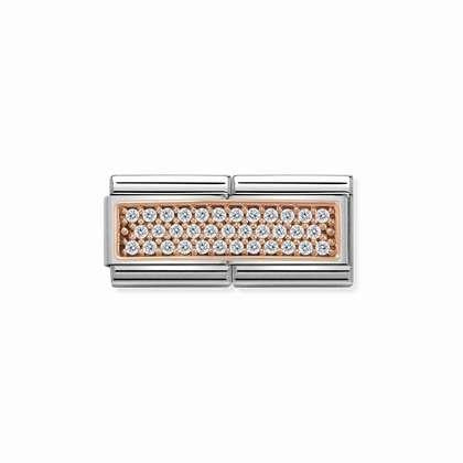 Rose Gold Double - White CZ charm By Nomination Italy from Nomination only 121.00 GBP