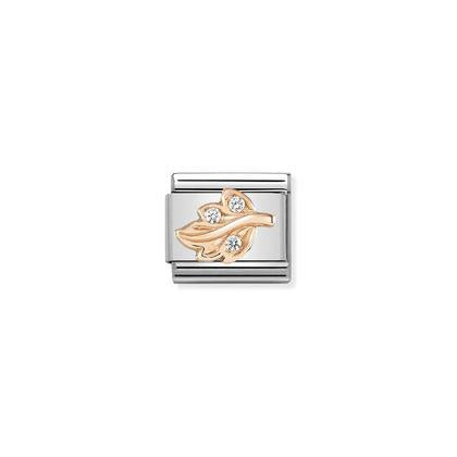 Rose Gold - Leaf CZ Charm By Nomination Italy from Nomination only 32.00 GBP