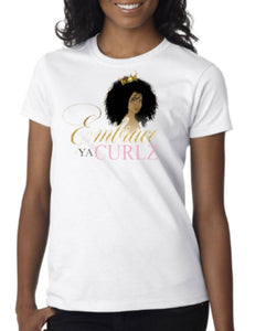 White Embrace Ya Curlz Fitted T-shirt
