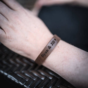 Personalized Leather Custom Cuff Bracelet engraved