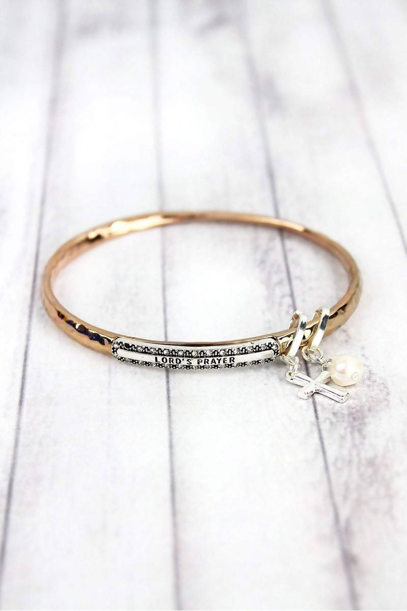 ROSE GOLDTONE WITH SILVERTONE 'LORD'S PRAYER' TWIST BANGLE WITH CHARMS