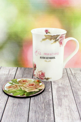 His Mercies Vintage Floral Mug & Coaster Set