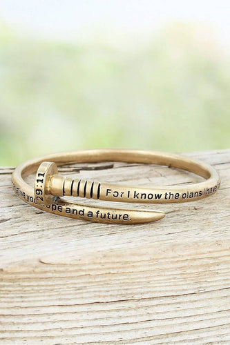 WORN GOLDTONE JEREMIAH 29:11 NAIL BANGLE
