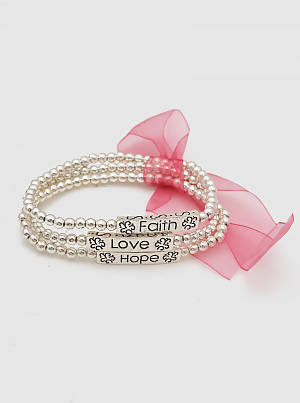 Pink Ribbon Breast Cancer Faith Love Hope Engraved Stackable Stretch Bracelet