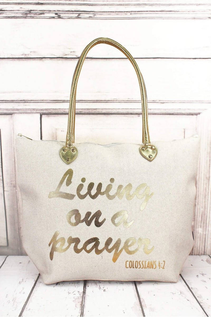 METALLIC GOLD 'LIVING ON A PRAYER' WHITE SHOULDER TOTE