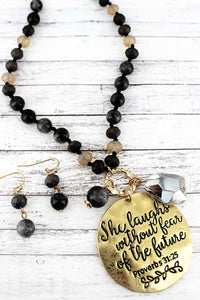 GOLDTONE 'SHE LAUGHS' BLACK BEADED NECKLACE AND EARRING SET