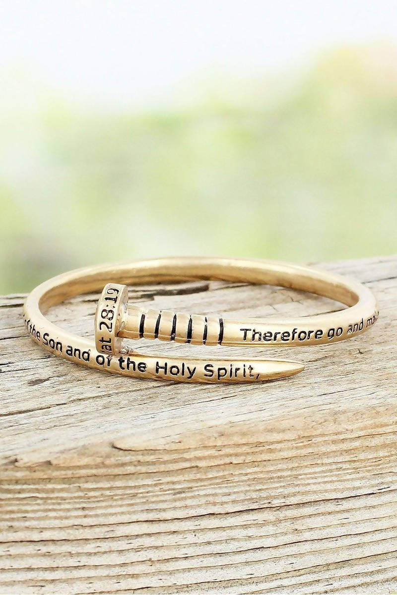 GOLDTONE MATTHEW 28:19 NAIL BANGLE