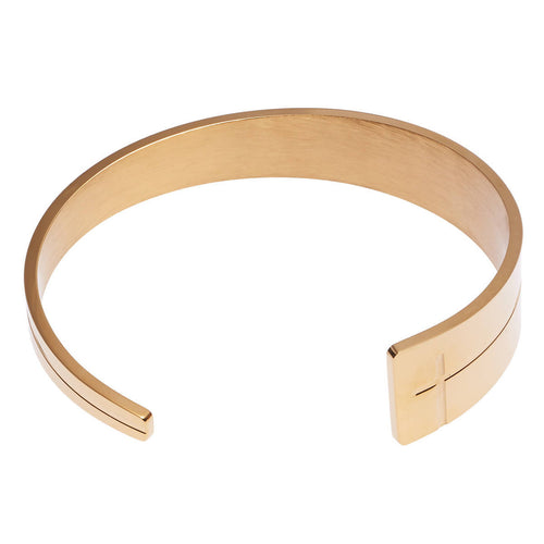Open Cuff Cross Bracelet With Tapered End